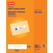 "Staples 1"" x 4"" Inkjet/Laser Address Labels, White, 5,000/Box (18064/SIWT110)"