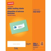 "Staples White Inkjet/Laser Address Labels 1-1/3"" x 4"", 3,500/Box (18065/SIWT120)"