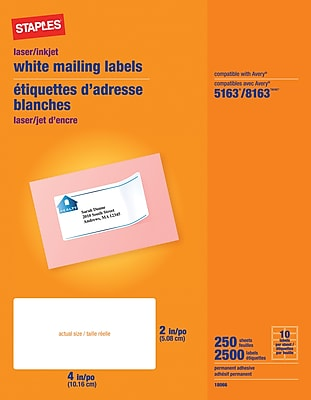 Staples® White Inkjet/Laser Shipping Labels 2