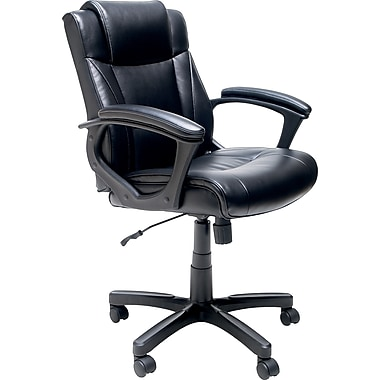 Merveilleux Staples® Bonded Leather Task Chair, Black