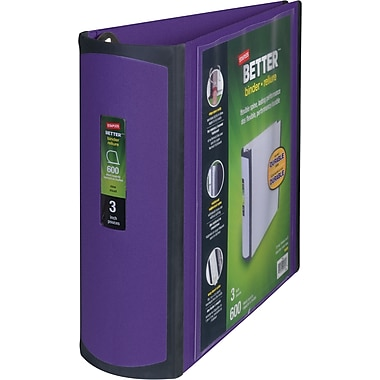 Staples Better 3-Inch Slant D 3-Ring View Binder, Purple (20246)