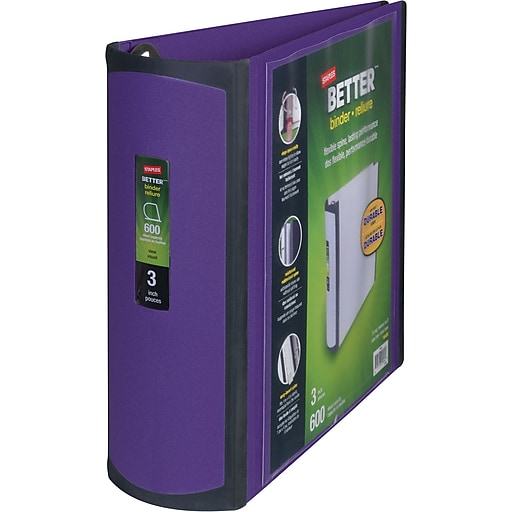 Staples Better 3-Inch Slant D 3-Ring View Binder, Purple