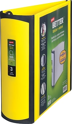 Staples Better 3-Inch D 3-Ring View Binder, Yellow (20245)