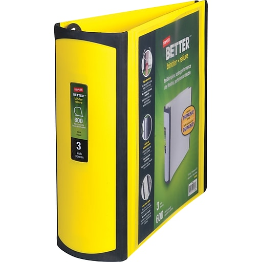 Staples Better 3-Inch D 3-Ring View Binder, Yellow (20245
