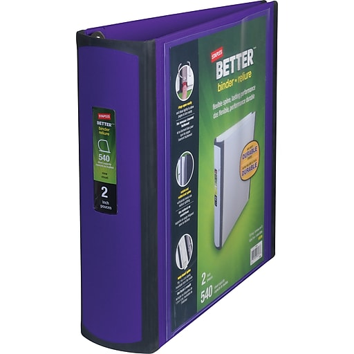 staples better 2 inch d 3 ring view binder purple 20247 staples