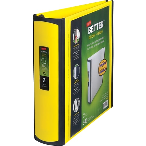 Staples Better 2-Inch D 3-Ring View Binder, Yellow (20248