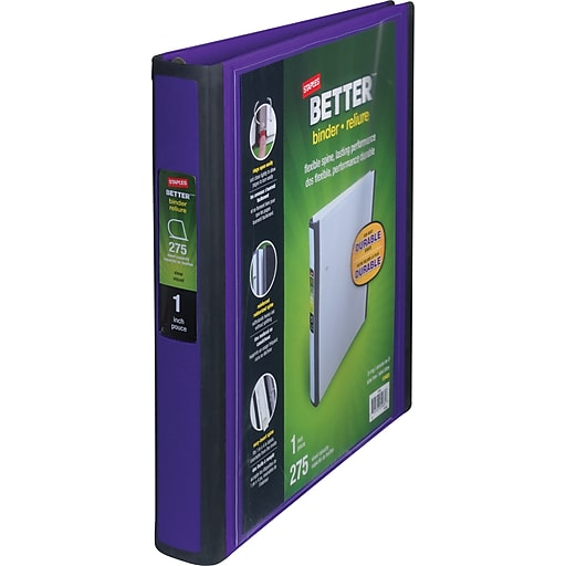 staples better 1 inch d 3 ring view binder purple 19065 staples