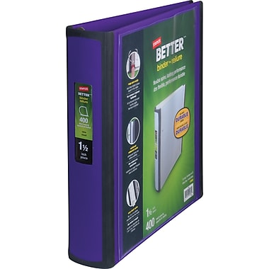 Staples Better View 1.5-Inch D 3-Ring View Binder, Purple (19061)