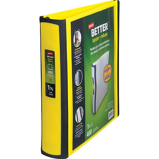 Staples Better 1.5-Inch D 3-Ring View Binder, Yellow