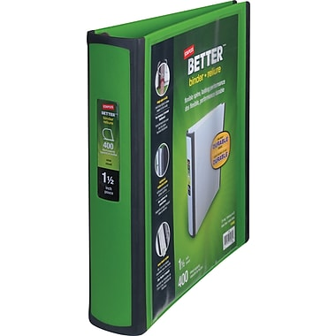 Staples Better 1.5-Inch D 3-Ring View Binder, Green (19059)