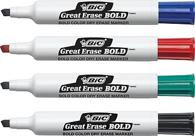 BIC® Great Erase® BOLD Dry-Erase Markers, Assorted, Chisel Tip, 4/Pack