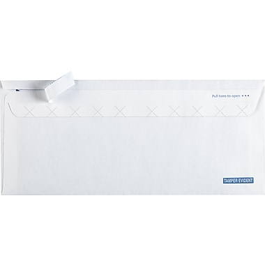 Staples® #10 EasyClose® Tamper-Evident Security Tinted Business Envelopes, White