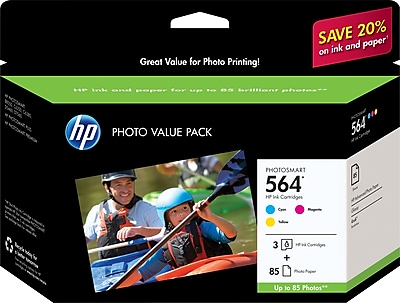 HP 564 C/M/Y Color Ink Cartridges w/ Photo Value Kit (CG925AN), Combo 3/Pack (DISCONTINUED)