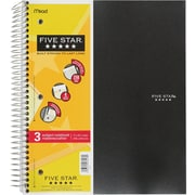 "Five Star 3-Subject Premium Notebook, 11"" x 8-1/2"", Assorted, 300 Pages"