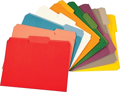 Staples® Colored Top-Tab File Folders, 3 Tab, 9 Color Assortment, Letter Size, 100/Pack