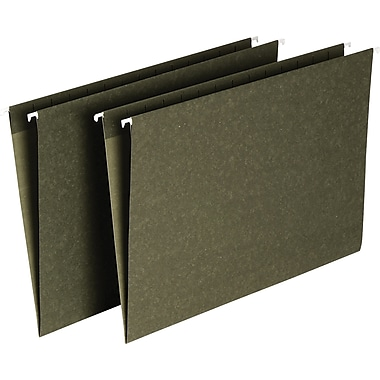 Staples® Hanging File Folders, Standard Green, No Tabs Included, 25/Box
