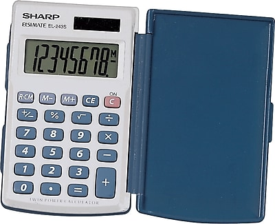 Sharp® EL-243SB 8 Digit Solar Handheld Calculator