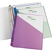 Avery Poly Binder Pockets, 3-Hole Punched, Assorted Colors, 5/Pack (75254)