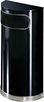 United Receptacle Designer Fire-Safe Receptacle, Half-Round, Steel, 9 Gallon Capacity, Black/Chrome (FGSO820PLBK)