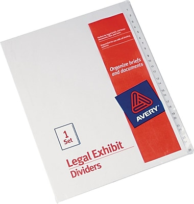 Avery Allstate®Preprinted Legal Exhibit Dividers, Side Tab, Tab Titles 1-25, White, 8 1/2