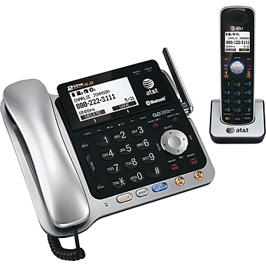 AT&T TL86109 2-Line Corded/Cordless Telephone with Bluetooth Connect to Cell, Silver/Black