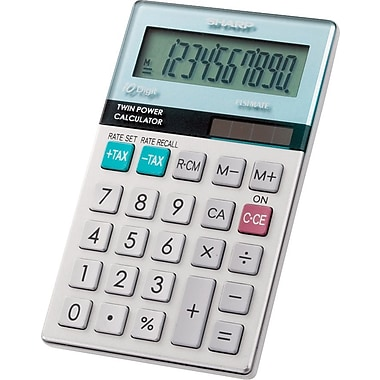 Sharp® EL-377TB 10-Digit Dual Power Pocket Calculator