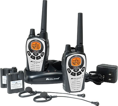 Midland GXT760VP4 Two-Way Radios with Charger, 42 Channels, Black/Silver