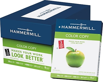 Hammermill® Paper, Premium Color Copy Printer Paper, 100 Bright, 28lb, 8.5x11, 3 Hole Punch, 500 sheets/8-ream carton (102500)