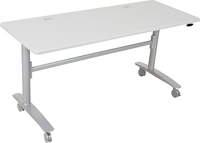 Balt Lumina 60'' Rectangular Flip Top Training Table, Silver (89985)