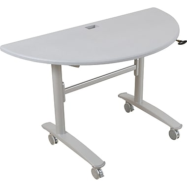 Balt Lumina 48'' Semi-Circle Flip Top Training Table, Silver (89956)