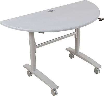 Balt Lumina 48'' Semi-Circle Flip Top Training Table, Silver (89956)