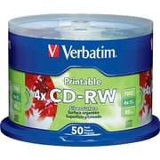 Verbatim® 700MB Printable CD-RW Spindle, 50/Pack