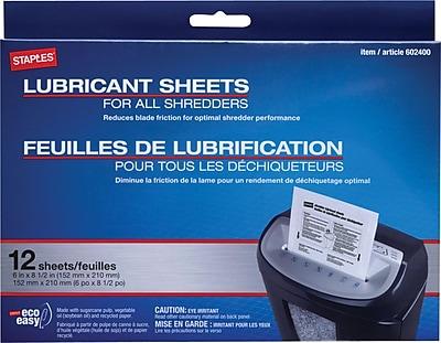 Staples® Shredder Lubricant Sheets 12/pk, Shredder Sheets