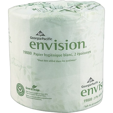 Envision®, White 2-Ply Embossed Bathroom Tissue, 550 Sheets/Roll, 80 Rolls/Case (298801/01)