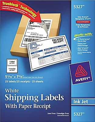 Avery(R) White Shipping Labels with Paper Receipts for Laser Printers 5327, 5-1/16
