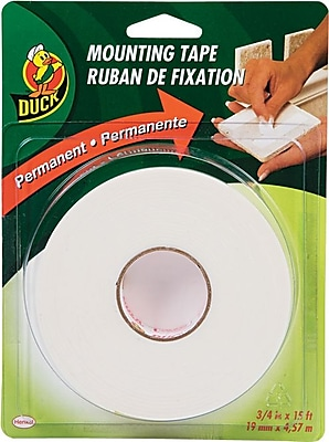 Duck Permanent Foam Mounting Tape, White, 3/4