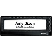 "Fellowes® Mesh Partition Additions™ Name Plate, Black, 3-3/8""H x 9-1/5""W x 1/2""D"
