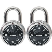 "Master Lock Combination Lock, Stainless Steel, Black Dial, 1 7/8""W Body, 2/Pk"