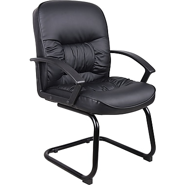 Boss Sled Base Black LeatherPlus Guest Chair