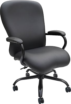 Boss Caressoft Big & Tall Faux Leather Managers Office Chair, Fixed Arms, Black (B990-CP)