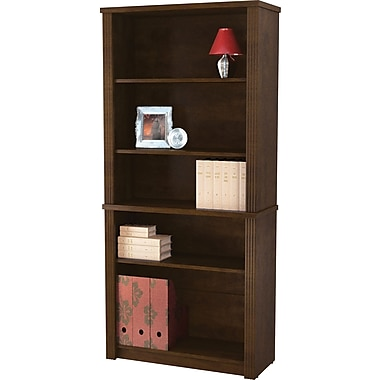 Bestar - Bibliothèque de la collection Prestige +, 5 tablettes, fini chocolat