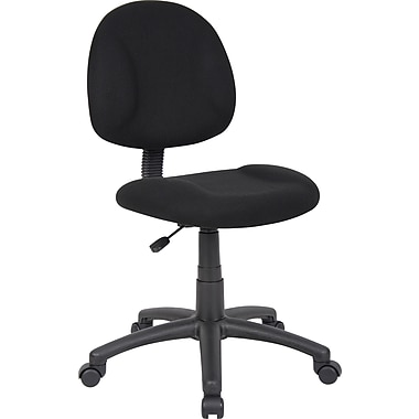 boss deluxe posture fabric executive office chair, armless, black