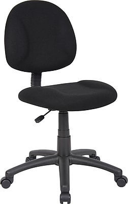 Boss Deluxe Posture Fabric Executive Office Chair, Armless, Black (B315-BK)