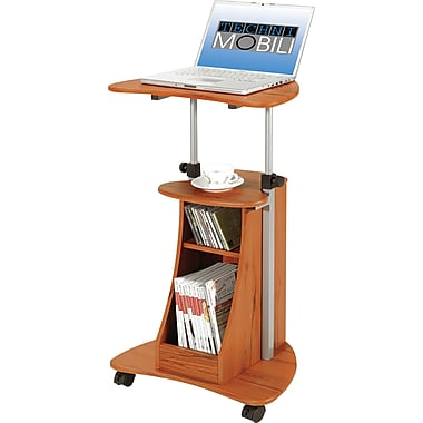 TechniMobili® Mobile Laptop Desk w/ Storage, Woodgrain