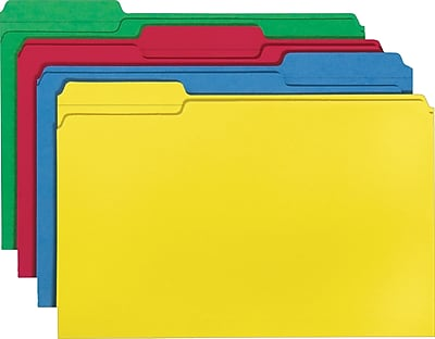 Smead® File Folder, 1/3-Cut Tab, Legal Size, Assorted Colors, 100 per Box (16943)