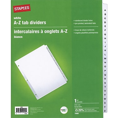 Staples® Preprinted Divider Tabs, A-Z