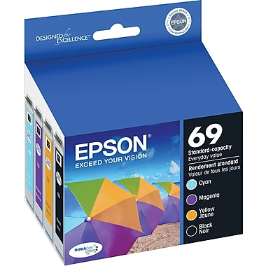 Epson 69 Black and Color C/M/Y Ink Cartridges (T069120-BCS), Combo 4/Pack