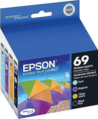 Epson 69 Black/Color Ink Cartridges, Standard Yield, 4/Pack (T069120-BCS)