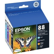 Epson 88 Black and Color C/M/Y Ink Cartridges (T088120-BCS), Combo 4/Pack