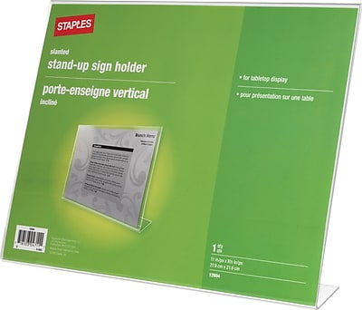 Staples® Slanted Sign Holder, Horizontal, 11